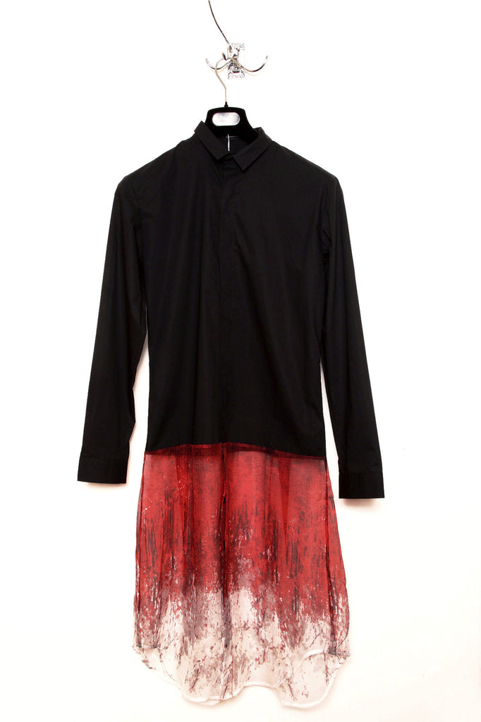 UNCONDITIONAL Black long cotton shirt with red silk chiffon blood print tail