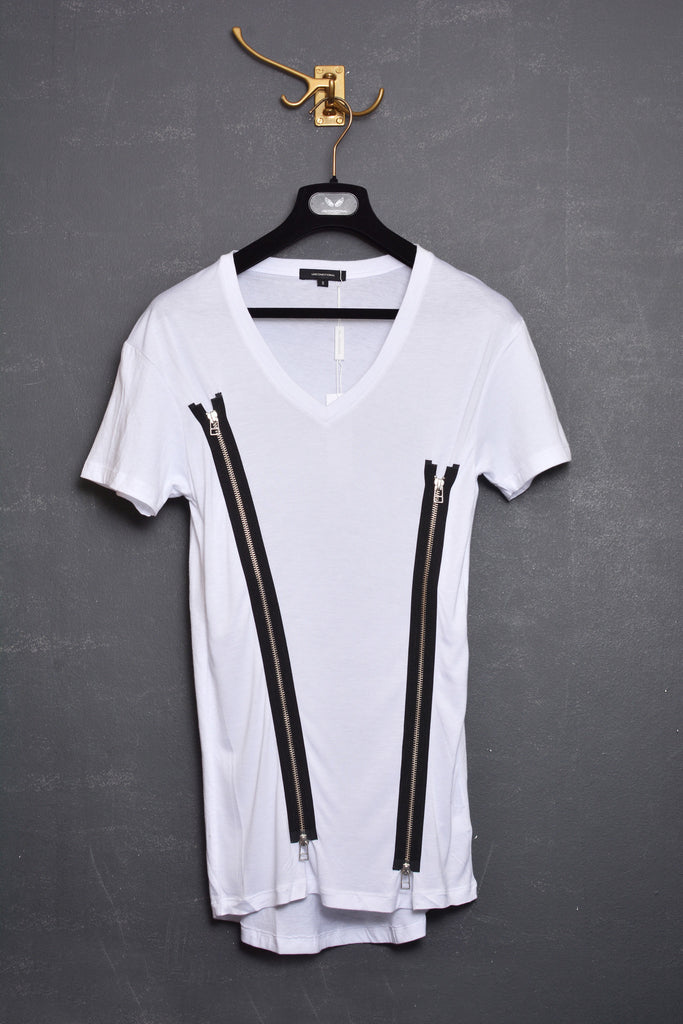 UNCONDITIONAL white scoop neck zip tee with back tail - with black contrast zips