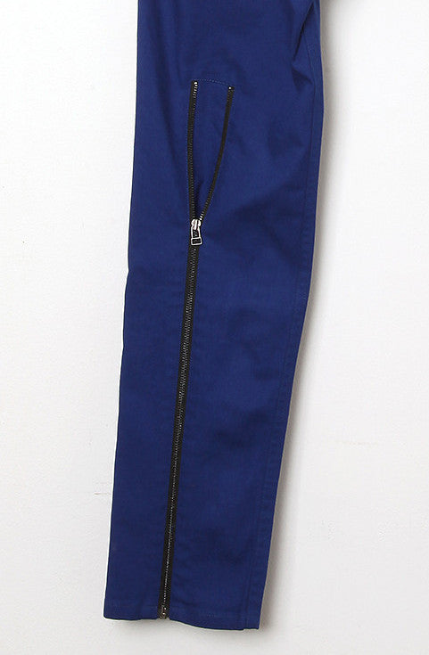 UNCONDITIONAL montana blue stretch drill back zip drop crotch jeans.