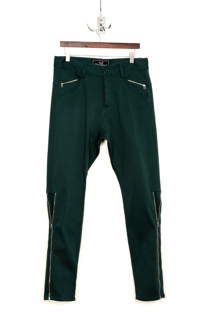 UNCONDITIONAL signature emerald green light stretch denim side zip jeans