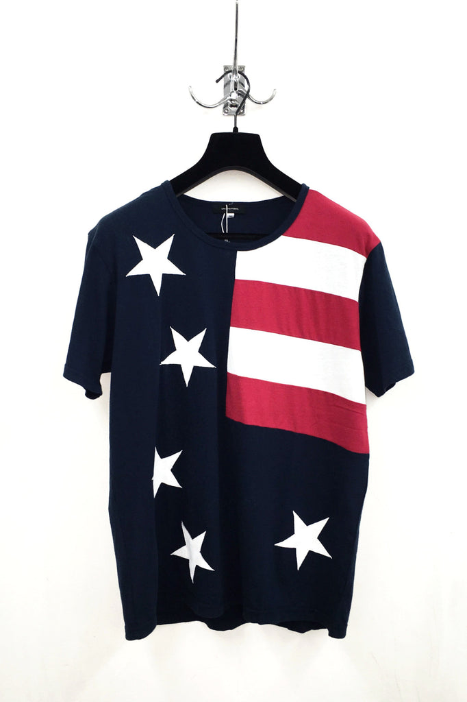 UNCONDITIONAL'S  American flag signature fit crew neck cotton T-shirt.