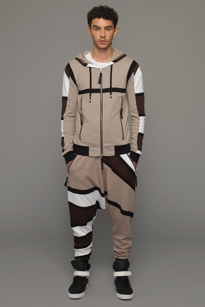 UNCONDITIONAL Tribal harness hoodie in linen, bitter chocolate , black and white stripes