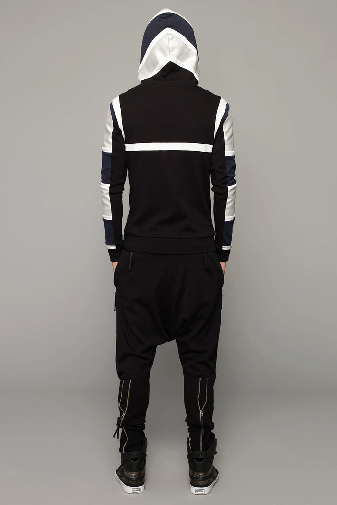 UNCONDITIONAL  tribal harness drop hoodie in black, petrol, white and silver .