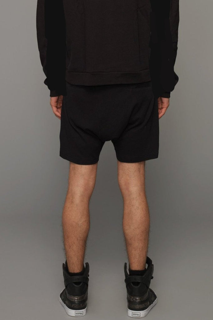 UNCONDITIONAL AW20 Black low rise,drop crotch shorts with double zips pockets