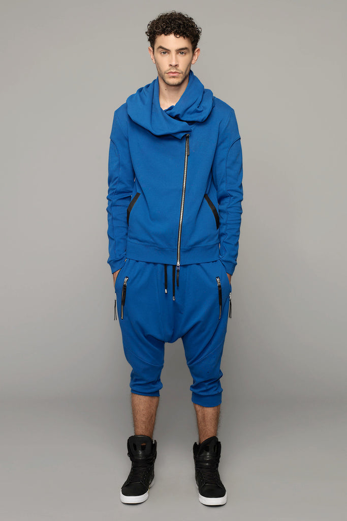 UNCONDITIONAL Lapis blue drop crotch 3/4 trousers , with double zip pockets