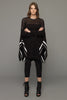 UNCONDITIONAL Black cotton mesh knitted mesh poncho with white border stripes