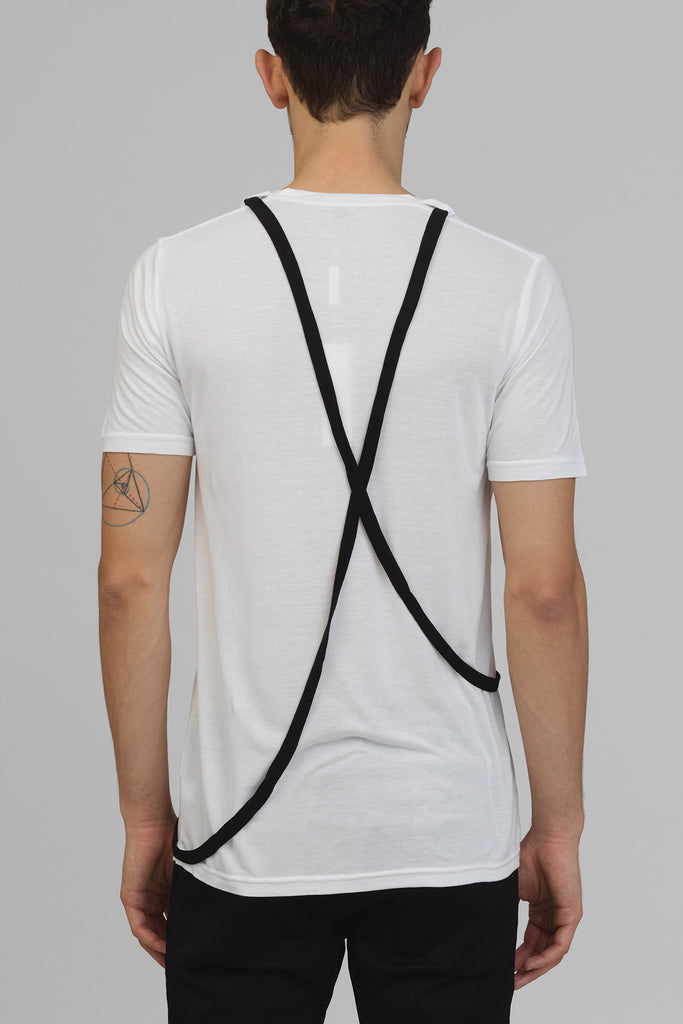 UNCONDITIONAL White deep scoop neck rayon T shirt with white contrast cross straps