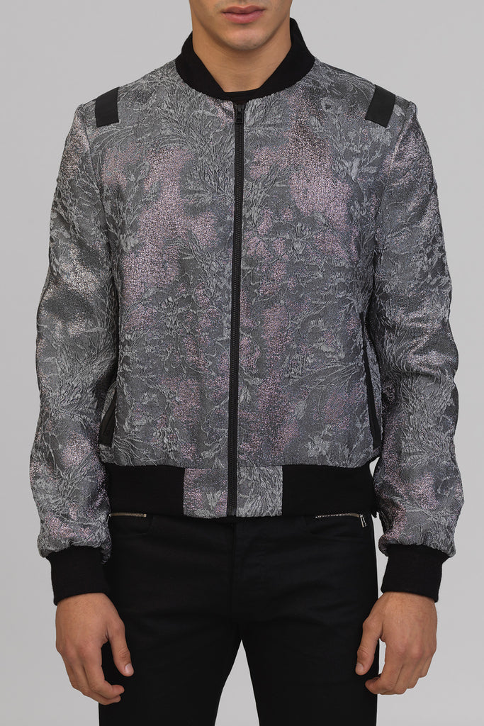 UNCONDITIONAL silver Metallic silk mix 3-D lunar French jacquard Bomber