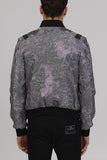UNCONDITIONAL AW17 New Metallic Silver silk mix 3-D lunar French jacquard Bomber
