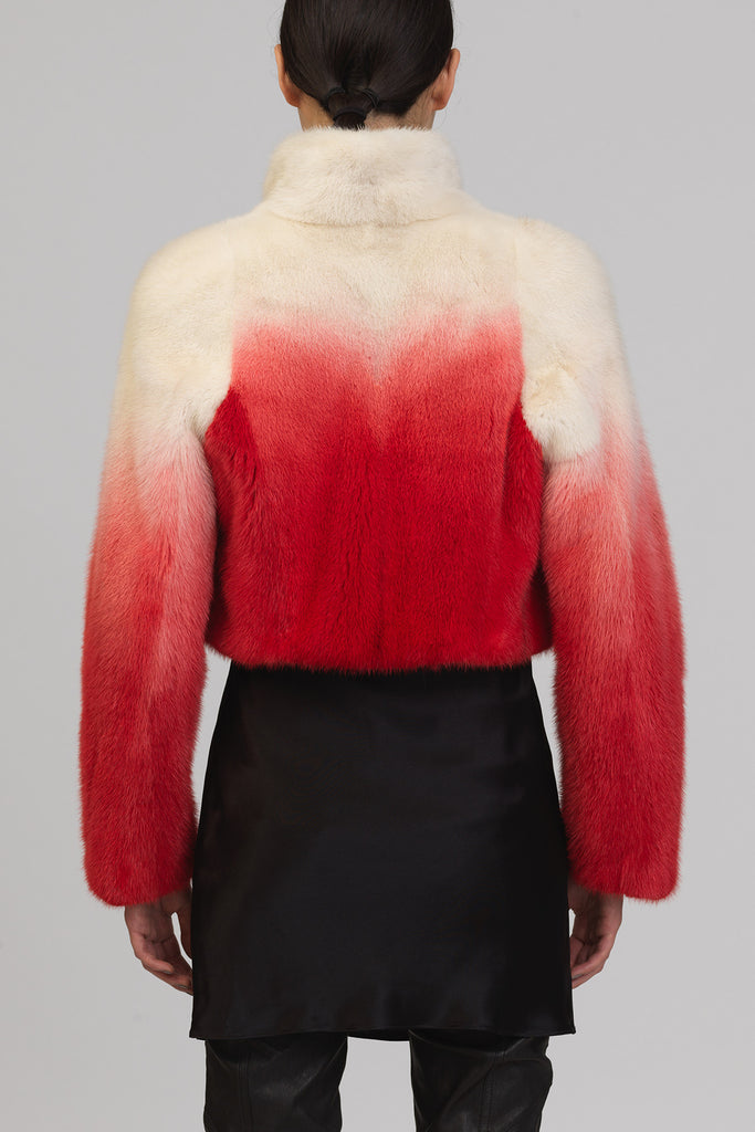 UNCONDITIONAL Ivory-White American Mink short jacket with standup collar, dipdyed in Red