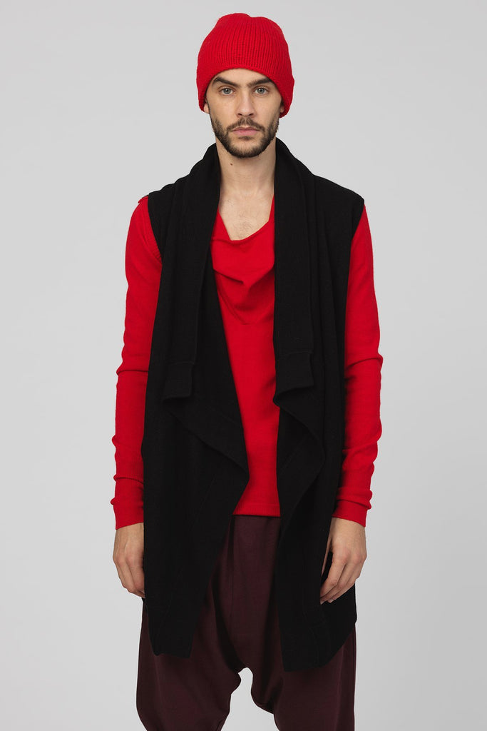 UNCONDITIONAL  Black boiled merino wool front draped waistcoat.