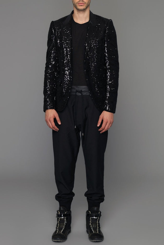 UNCONDITIONAL SS19 Black one button sequin fitted peak lapel jacket