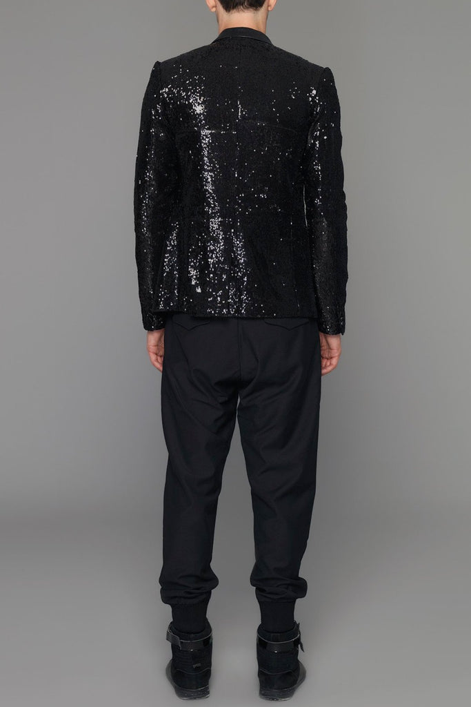 UNCONDITIONAL's Signature Black one button sequinned jacket with peak lapel