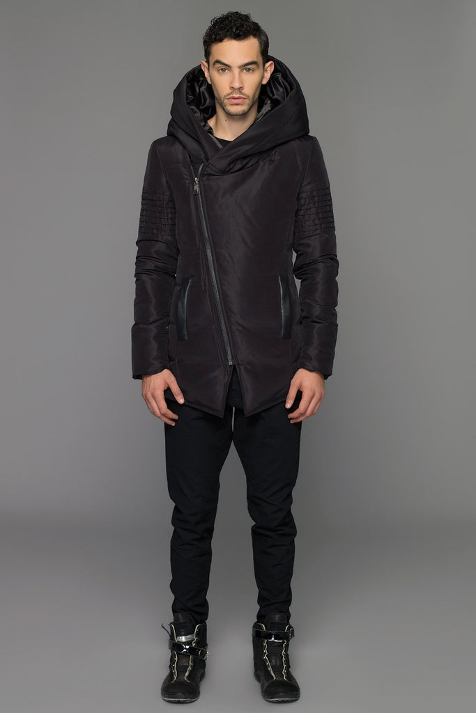 UNCONDITIONAL Black goose down parka with oversized hood