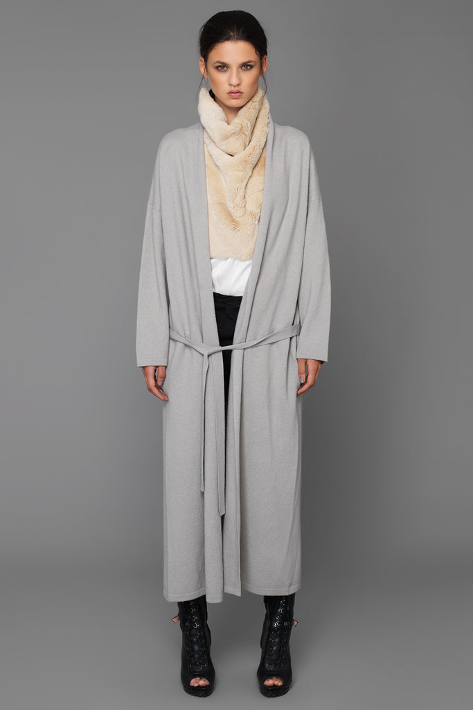 UNCONDITIONAL AW16 Silver boiled wool long belted robe cardigan.