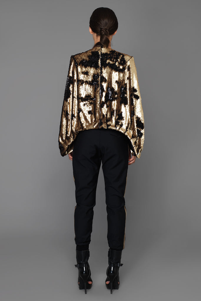 UNCONDITIONAL BLACK WOOL TROUSER WITH GOLD EMBELLISHED SIDE PANELS
