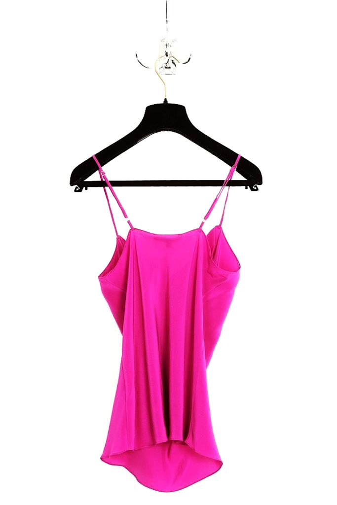 UNCONDITIONAL signature silk drape front camisole in Electric Pink
