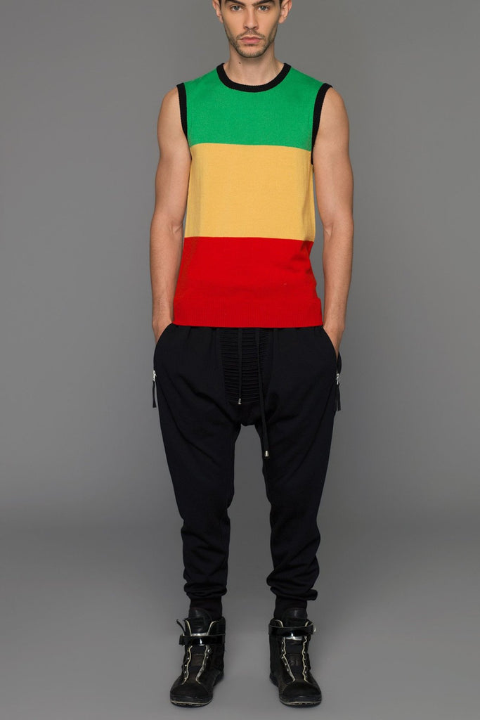 UNCONDITIONAL AW15 rasta striped Italian merino knitted tank.