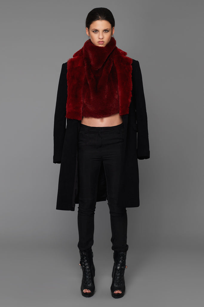 UNCONDITIONAL Black wool + Cardinal Red Rex Rabbit collared pure wool coat.