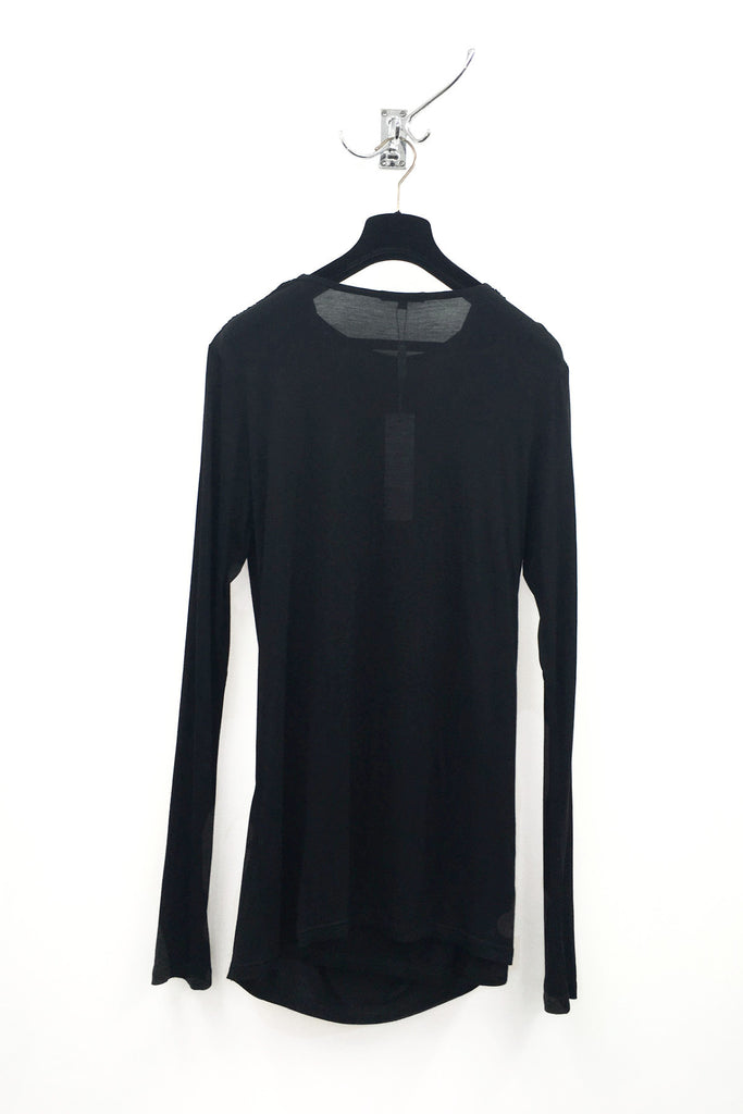 UNCONDITIONAL  Black long sleeved crew neck cross drape T shirt