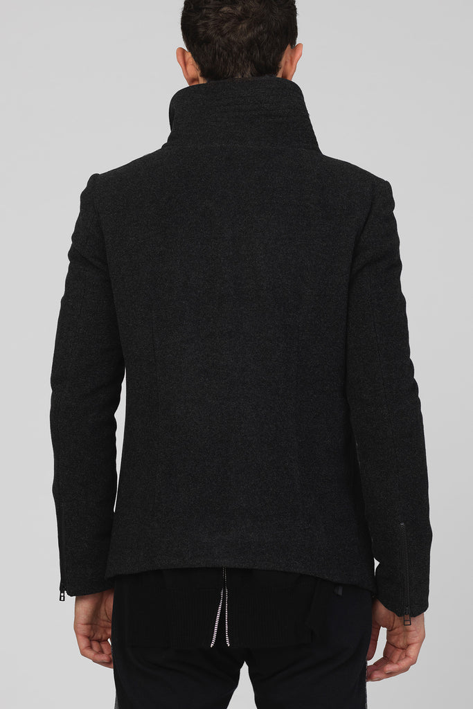 UNCONDITIONAL AW16 CHARCOAL WOOL ORIGAMI FOLD SCULPTURAL COLLAR SHORT COAT