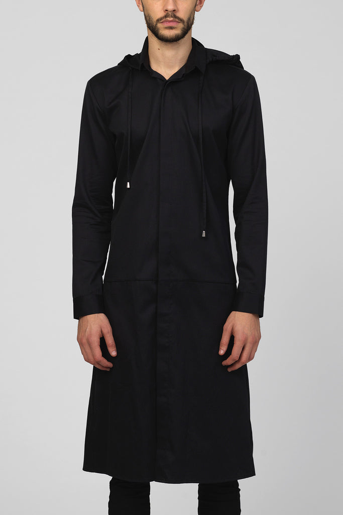 UNCONDITIONAL SS19 black long cotton hooded tailcoat shirt in black cotton pique