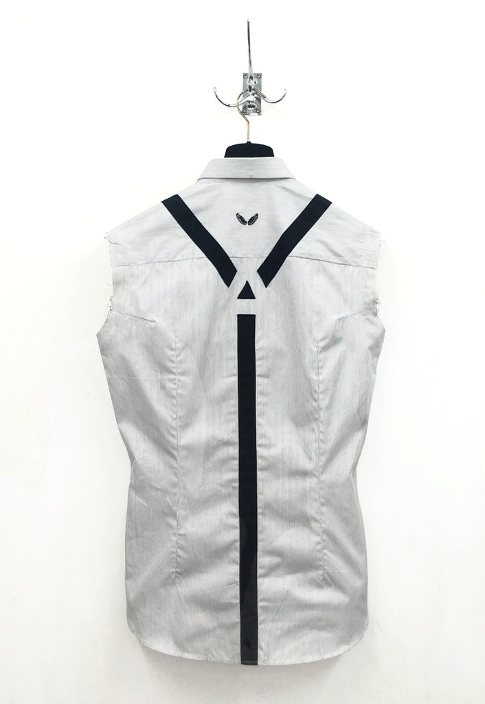UNCONDITIONAL  Sleeveless Black and white pinstripe shirt with black braces.
