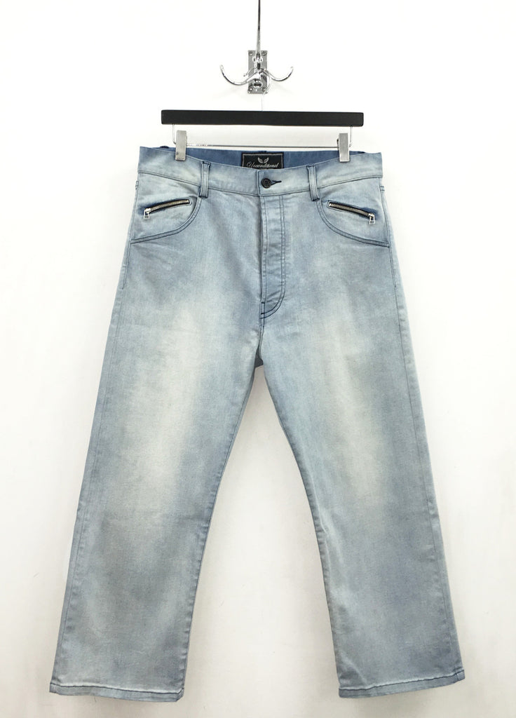 UNCONDITIONAL AW19 cropped hand aged stretch denim jeans