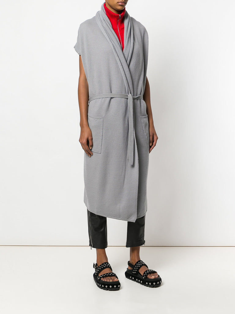 UNCONDITIONAL SS19 Silver Grey long draped cap sleeve belted pocket cardigan.