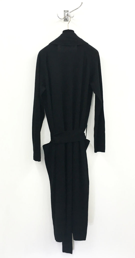 "UNCONDITIONAL AW18 black full length mens cashmere ""dressing gown"" cardigan."