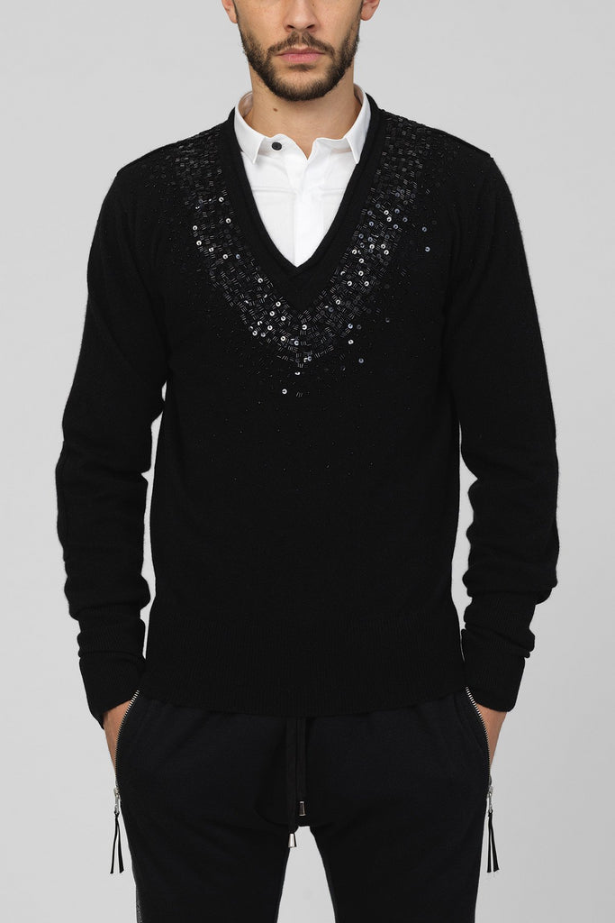 UNCONDITIONAL Black Cashmere V-neck hand beaded and sequinned jumper.
