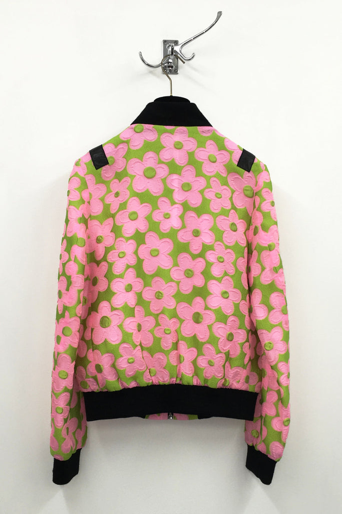 UNCONDITIONAL SS17 Pink and Green daisy bomber jacket with black contrasts