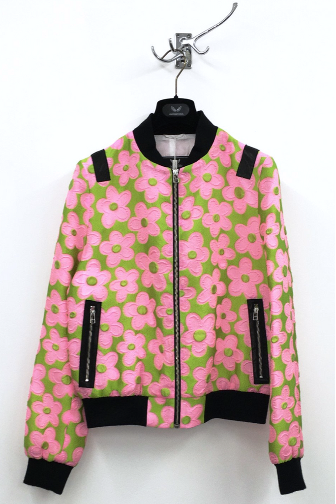 UNCONDITIONAL SS19 Pink and Green daisy bomber jacket with black contrasts