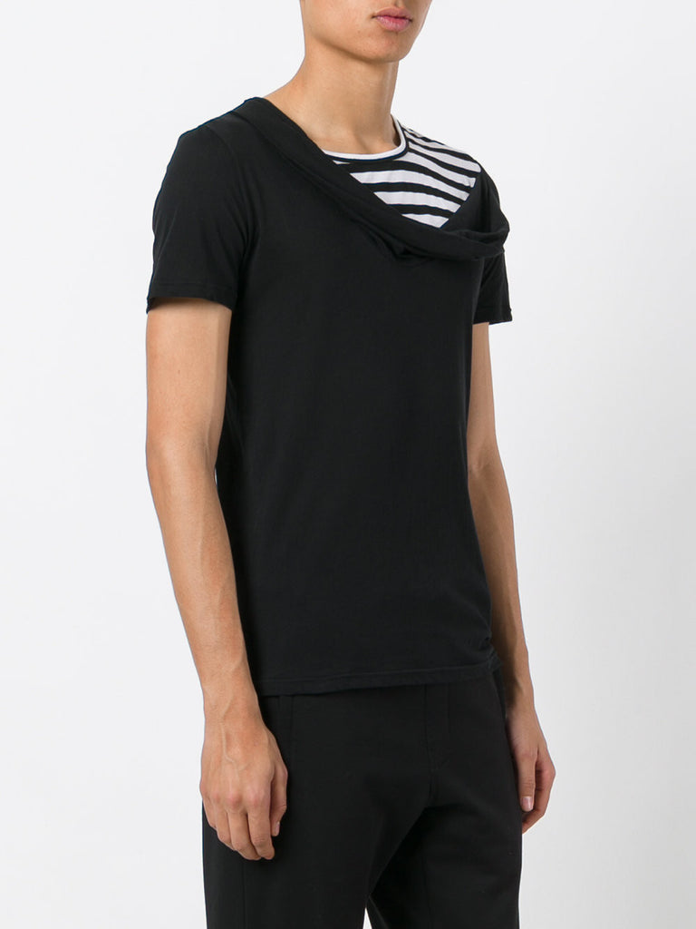 UNCONDITIONAL Black with black and white stripes cross drape neck t-shirt