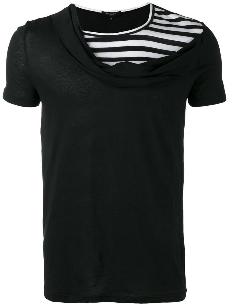 UNCONDITIONAL SS17 Black with black and white stripes higher cross drape neck t-shirt