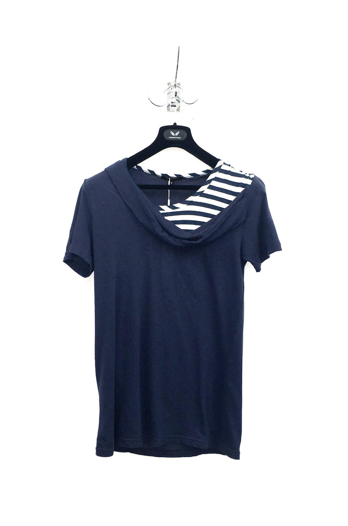 UNCONDITIONAL blue with blue and white stripes cross drape neck cotton T-shirt