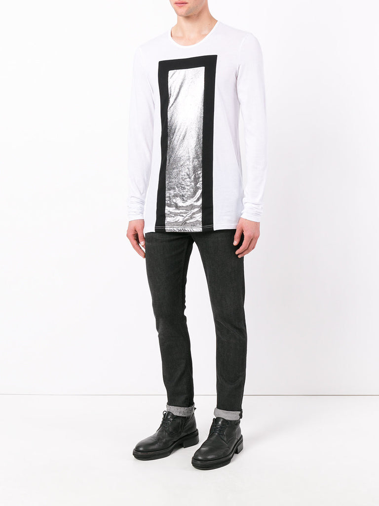 UNCONDITIONAL White ,Black and foiled Silver long sleeved T-shirt.