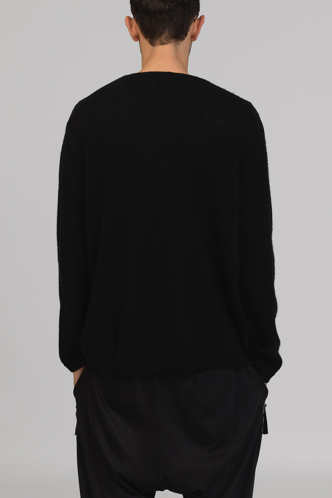 UNCONDITIONAL BLACK MERINO FOILED FRONT CREW NECK JUMPER.