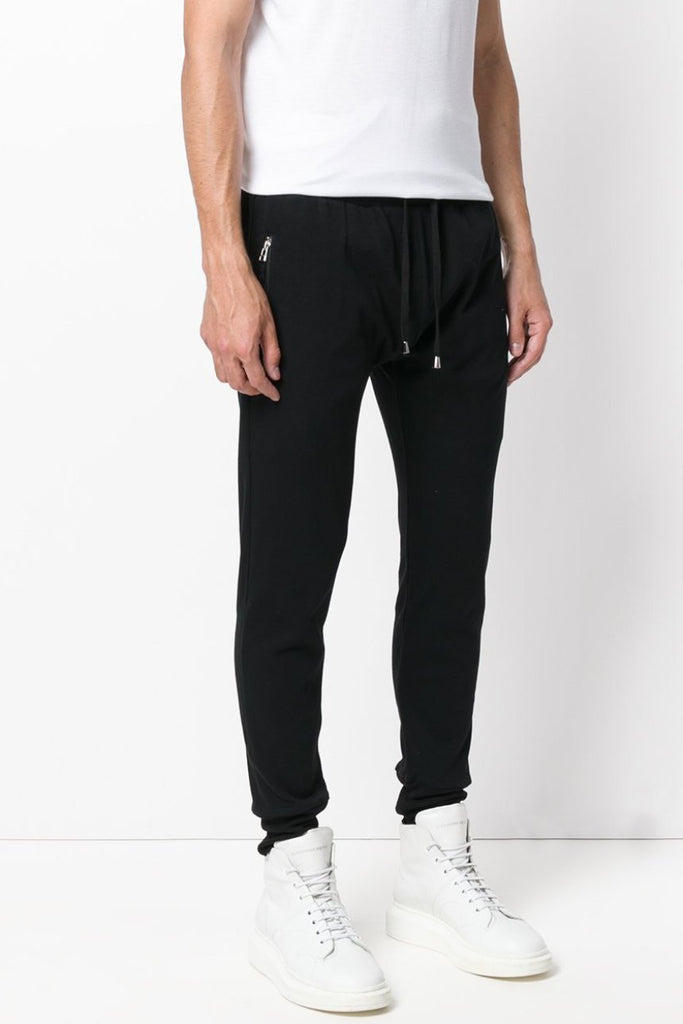 UNCONDITIONAL SS19 Black slim jersey trousers with zip up pockets