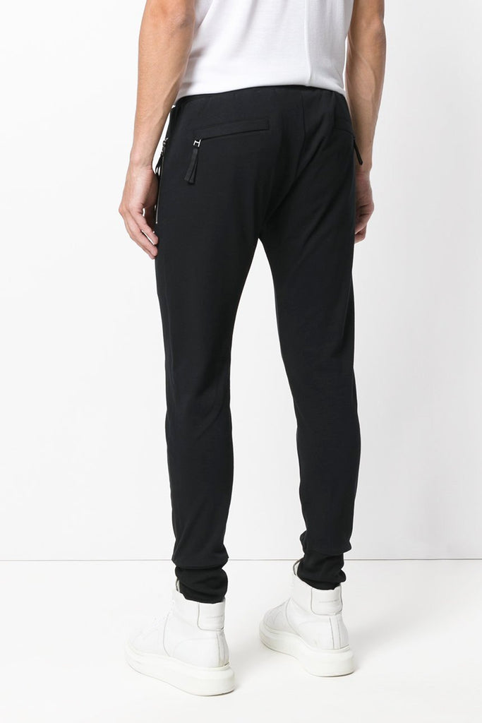 UNCONDITIONAL aw19 Black slim jersey trousers with zip up pockets