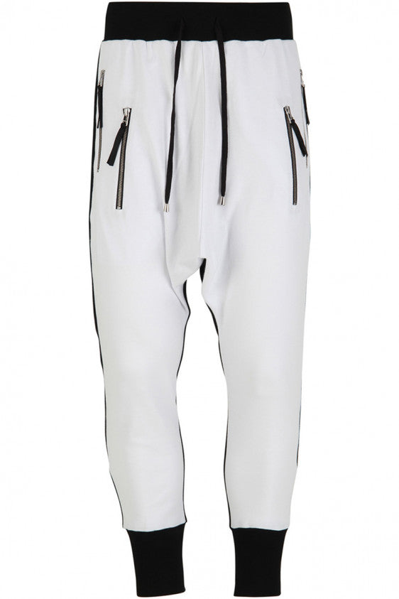 UNCONDITIONAL AW18 white / black contrast back , side zip drop crotch joggers