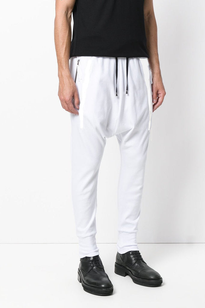 UNCONDITIONAL SS18 White Signature Tailored jersey drop crotch trousers.