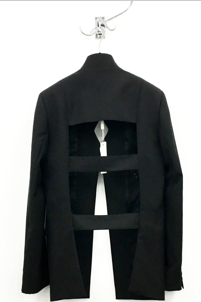 UNCONDITIONAL AW16 Mens plain black wool signature cage back jacket.