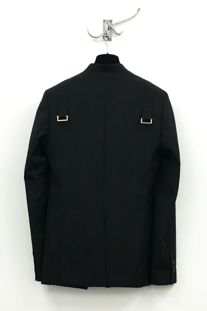 UNCONDITIONAL Black wool cutaway jacket with shoulder straps and gold D-rings.