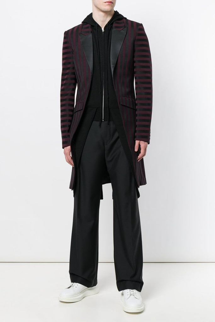UNCONDITIONAL Burgundy-Black striped Tuxedo tailcoat
