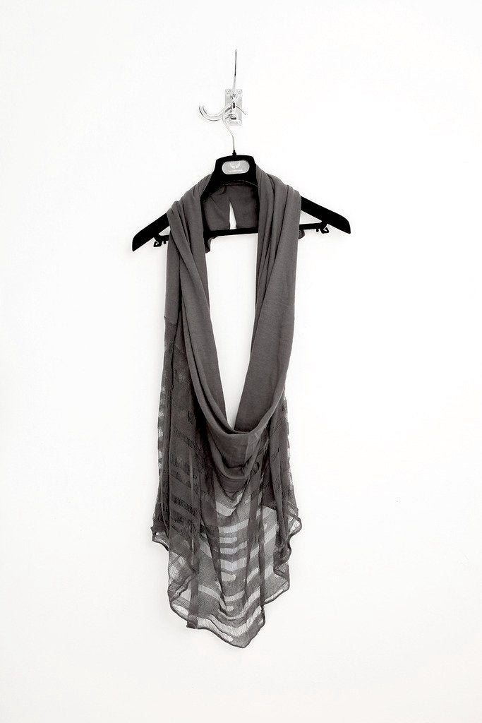 UNCONDITIONAL DARK GREY HALF LADDERED SCARF