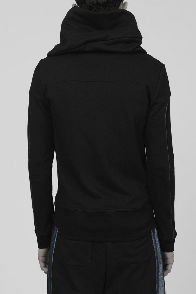 UNCONDITIONAL's AW17 Signature Black biker tail hoodie with piped arm detailing