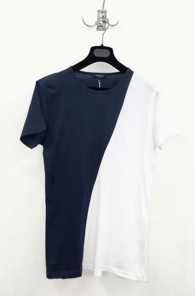 UNCONDITIONAL'S navy and white fit crew neck T-shirt.