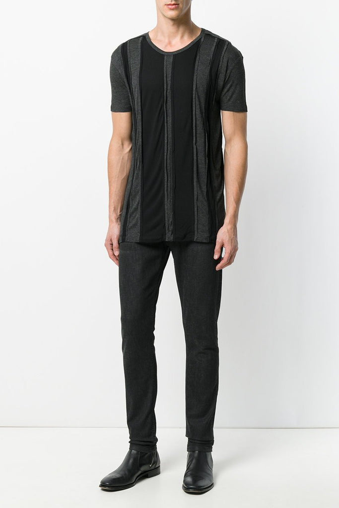 UNCONDITIONAL Black and charcoal striped panelled T-shirt with external seams