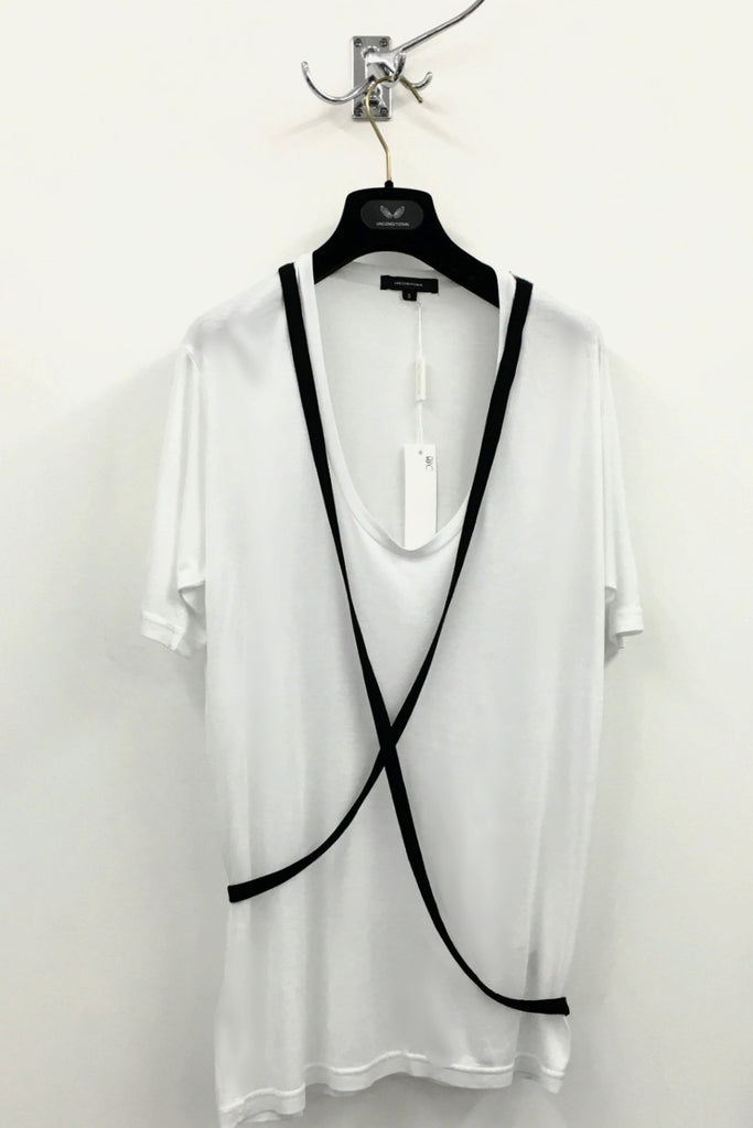 UNCONDITIONAL SS17 white scoop neck rayon T shirt with black contrast cross straps